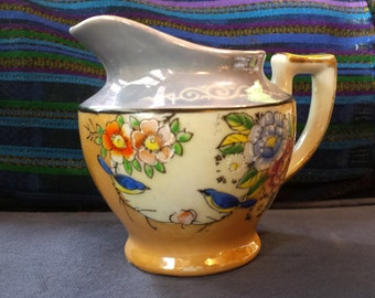 Beautiful Japanese Peach and Blue Lusterware Pitcher Creamer with Birds and Flowers and Gold Accents