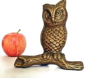 Vintage Brass Figurine Brass Owl Figurine Collectible Brass Paperweight Retro Decor Teachers Gift