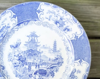 Vintage Blue Transferware Plate English China Plate Pale Blue & White Collectible Allerton Chinese Pagoda Home Decor