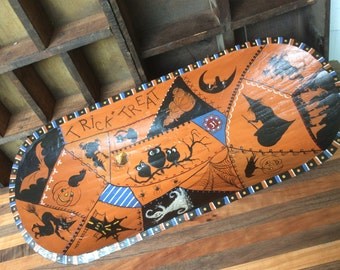 Halloween large wool Bowl Trick or Treat Crazy Quilt Style Hand Painted Folk Primitive