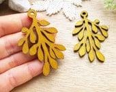 WP36 / # 12 Sand / Wood Filigree Leaf Dangle For Earring/ Laser Cut Leaf Charm / Pendant /  Filigree Wood Gift /Light earrings