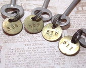 Silver Numbered Skeleton Keys with Matching Numbered Round Brass Tags Uncut Blank Locksmith Keys