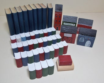 Wood Craft Supplies DIY Do It Yourself Crafts Painted Books and Houses