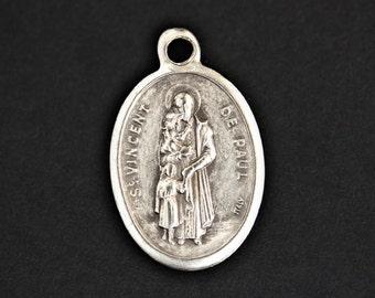 Saint Vincent de Paul Medal. Catholic Pendant. St Vincent de Paul Pendant. Catholic Saint Medal. 25mm x 16mm (Qty 1)