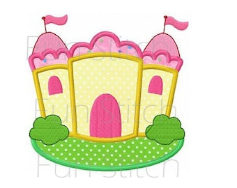 Princess castle applique machine embroidery design digital pattern all formats