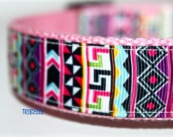 Girl Dog Collar, Tribal Dog Collar, Stripe Dog Collar, Southwest Dog Collar, Colorful Dog Collar, Pink Collar