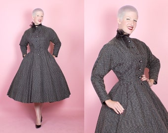 STUNNING 1950's New Look Black Matte Rayon Satin Fit n Flare Princess Coat w/ Cream Textured Stripes & Rhinestone Buttons - Pockets - Size M