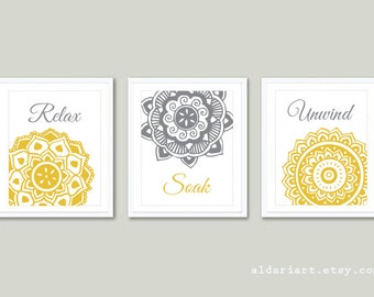 Bathroom Wall Art Bathroom Artwork Bathroom Prints Relax Soak Unwind Prints Bathroom Decor Mandala Prints Bathroom Rules Set of 3