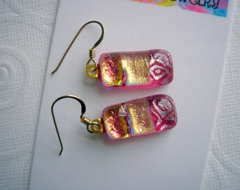 Dichroic Glass Earrings Peach Gold and Rose 14K Gold French Hooks Fused Glass Jewelry Handcrafted Kiln Fired ArtGlass Dangle Drop Iridescent