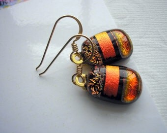 Copper Earrings Dichroic Fused Glass Fall Colors 14K Gold Earwires Orange Jewelry Iridescent Sparkle Halloween Colors Dangle Drop Hand Made