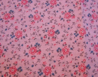 Vintage Fabric Pink with Darker Pink and Blue Flowers Cotton Calico Fabric