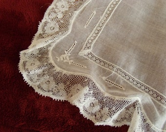 Vintage White Square Cotton Handkerchief with Lace Border