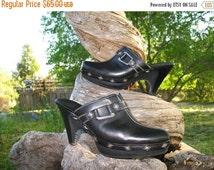 Gorgeous Sexy Pinup Cole Haan Couture ROCKSTAR  Black Leather Studded Clogs Size 8 5 In Fab Condition