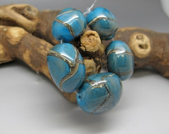 Turquoise Nuggets - Lampwork Bead Set