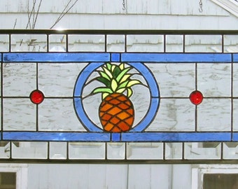 "Pineapple Transom --10.5"" x  34.5""--Stained Glass Window Panel"
