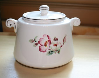 House of Webster Wild Briar Rose Old English Biscuit Barrel Cookie Jar Canister