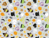 Grey Orange Purple and Green Halloween Jersey Knit Fabric, Ghouls & Goodies by Doodlebug Designs For Riley Blake, Main Print in Grey, 1 Yard
