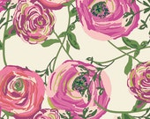 Fuchsia Magenta Pink and Green Floral Jersey Knit Fabric, Joie de Vivre By Bari J Art Gallery Fabrics, Paradis in Sweet, 1 Yard JERSEY KNIT