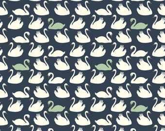 Navy Blue Mint Green and Cream Swan Organic Cotton Interlock Knit, Swan Lake For Birch Fabrics, Bevy in Mint, 1 Yard