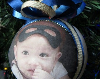 Custom Three Photo Christmas Ornament