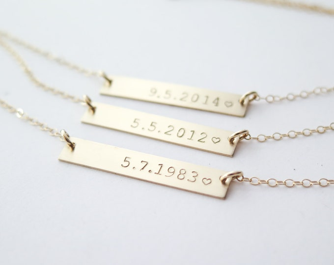 Personalized Date Custom Gold Fill Bar Necklace - Hand Stamped Jewelry by Betsy Farmer Designs