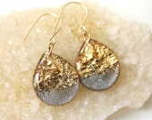 charcoal and gold leaf and glitter tear drop earrings on 14 karat gold fill ear wires - large size