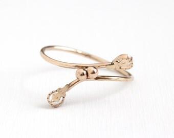 Sale - Antique Rose Gold Filled Victorian Era Bypass Bracelet - Vintage 1890s Wrap Bangle Dainty Sleek Children's Chased Design Jewelry