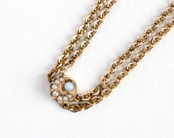 Antique 10k Star Crescent Moon Opal Pearls Round Slide Charm Necklace - Vintage Victorian Fob Pocket Watch Chain Layered Gold Filled Jewelry