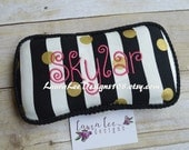 Black and White Striped with Metallic Gold Polka Dots, Travel Wipe Case, Personalized Wipe Case, Diaper Wipes Case, Baby Shower Gift Case