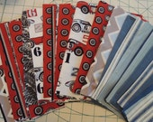 SALE, Fabric Grab Bag, Race Car and  Designer Fabrics, 40 pieces, Bag 35A