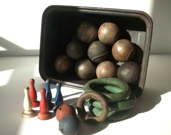 Vintage Toy Bin / Vintage Toy Lot / Vintage Metal Tub with Old Toy Games and Balls / Distressed Primitive / AS FOUND