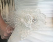 Bridal White Flower Sash, With French Netting, Tulle, Lace, feathers, rhinestones, crystals and pearls