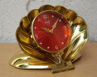 Helveco Red Clock in Sea Shell Fold Up Swiss Alarm Clock