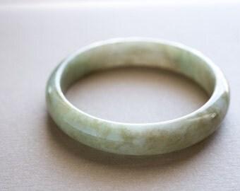 59mm - Olive Green Mottled Natural Jadeite Bangle