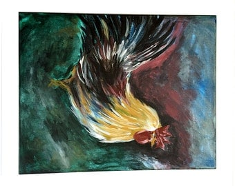 Original Painting Rooster Chanticleer on Canvas 20 x 16