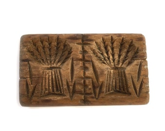 Antique Double Butter Mold Print Stamp Stylized Wheatsheaf Bundles