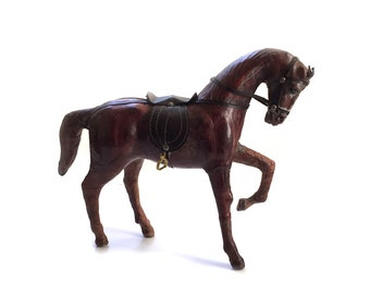 Vintage Leather Chestnut Horse Statue Equestrian Decor