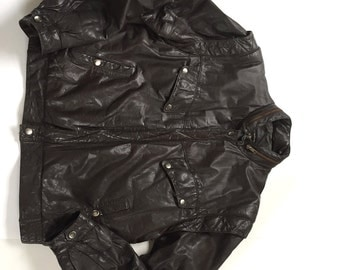 American Male Brown Leather Bomber Biker Jacket Size 42 with Removable Sleeves to Convert to Vest