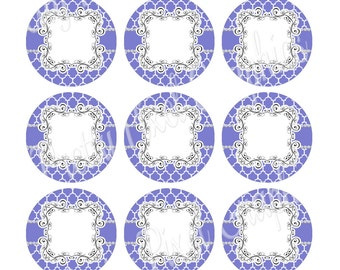 INSTANT DOWNLOAD-Bottlecaps-1 inch circle-Lavender Quatrefoil BLANKS
