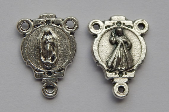 5 Rosary Center Piece Findings - 19mm Long, Mary, Jesus, Silver Color Oxidized Metal, Rosary Center, Religious, Hardware, RC511