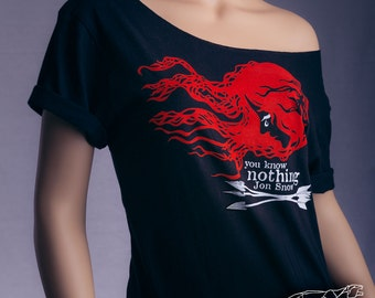 YOU KNOW NOTHING Jon Snow.  Off The Shoulder Slouchy Black Tshirt. Game of Thrones Shirt Ygritte and Jon Snow Shirt. Ygritte Wildling Shirt