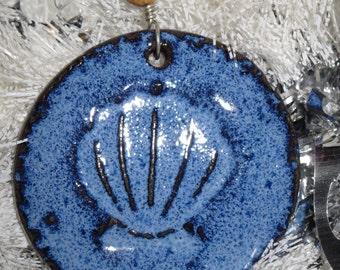 Handmade Ceramic Ornament - Blue  Shell