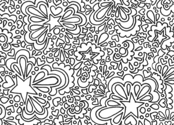 Stars And Hearts Printable Adult Coloring Page