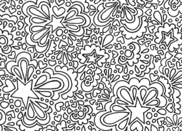 heart and star coloring pages | Stars and hearts printable adult coloring page