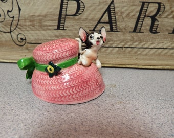 Vintage Kitch Ceramic Pink Hat Kitty Miniature Figurine Unique And Sweet