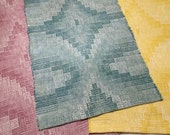 "Spring Table Runner, Handmade Hand Woven Cotton & Linen Table Runner, Blue, Pink, Yellow - 13"" x 25"""