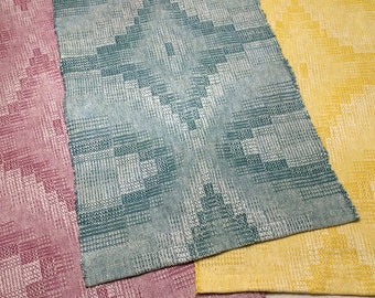 "Spring Table Runner, Handmade Hand Woven Cotton & Linen Table Runner, Blue, Pink, Yellow - 13"" x 25"""