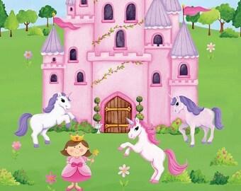 "on sale Little Princess Unicorns Quilt Fabric Panel 24"" x 44"""