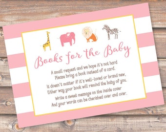 Girl Safari Animals Bring a Book Cards Pink Striped Girly Zoo Printable Stock the Library Enclosures Bring a Book Cards - INSTANT DOWNLOAD
