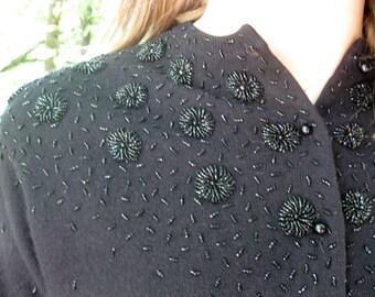 1950s beaded sweater Wool 50s black beaded sweater